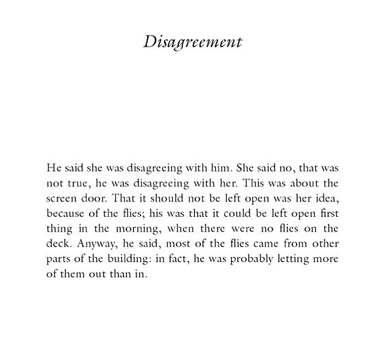 disagreement.Lydia Davis